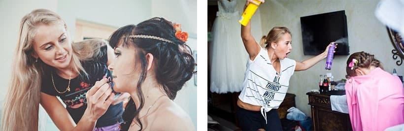 Владлена делает макияж и прическу невестам. Рабочий процесс может быть веселым!