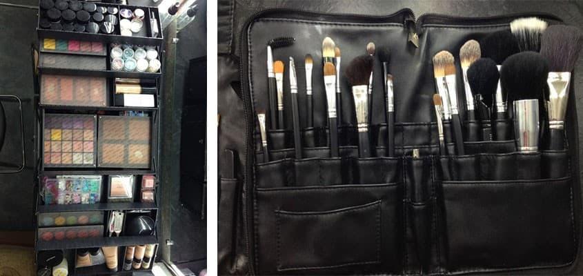 Набор профессиональных кистей и косметики, которым пользуются ученики на курсах по макияжу курсах, которые ведет Владлена