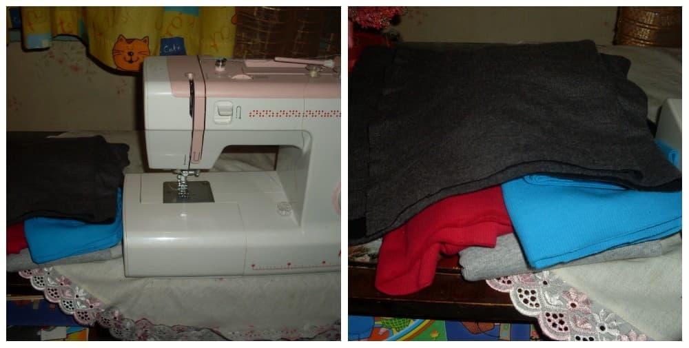 Рисунок 1 Ткани для работы и швейная машина