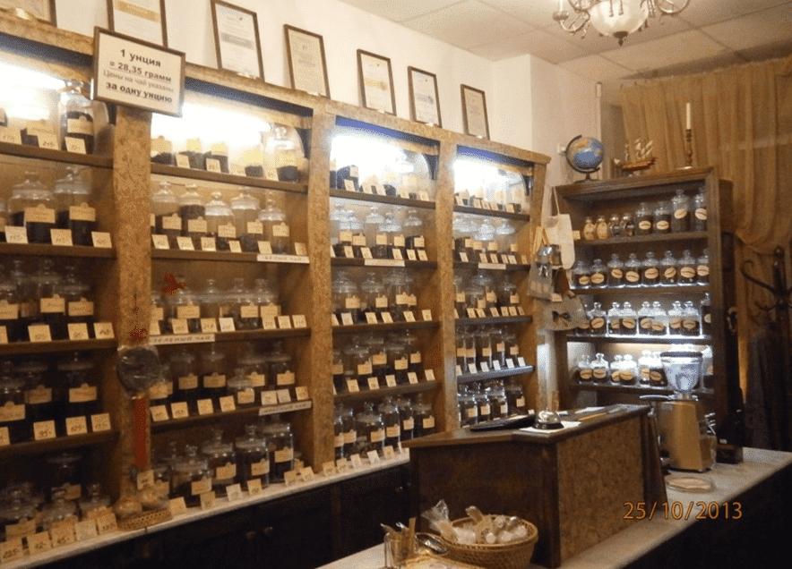 интерьер магазина чая и кофе